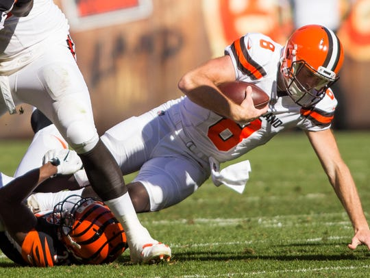 Cleveland Browns quarterback Kevin Hogan (8) is sacked