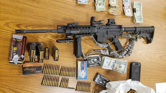 An assault rifle, over 300 rounds of ammunition, high-capacity magazines and a large amount of money were found during a vehicle stop in Victorville on Thursday, June 25, 2020. The driver, Patrick Ybarra, was arrested and booked in connection with a shooting of a man five days earlier in Apple Valley.