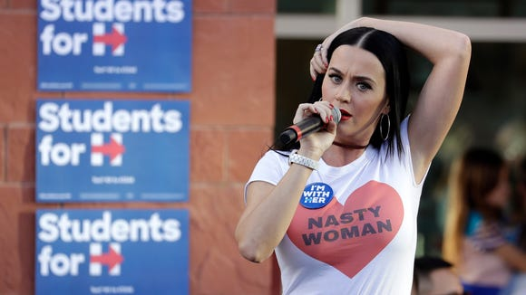 Singer Katy Perry speaks at a rally in support of Democratic