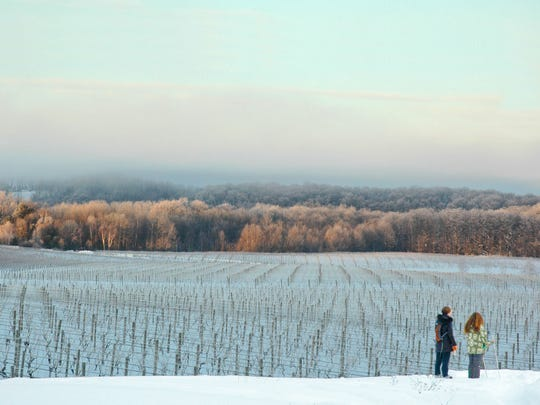 Cross-country skis are a great way to tour Northern Michigan's wine country. The 7.5 mile Leelanau Ski/Snowshoe Wine Trail connects Blustone Vineyards, Forty-Five North Vineyard and Winery, and Tandem Ciders.
