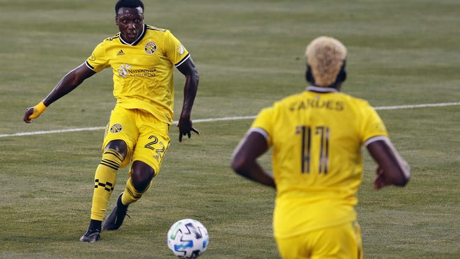 Derrick Etienne Jr., shown on his goal-scoring kick against the Fire on Thursday,  returns to Red Bull Arena tonight for the first time since being traded by New York last season.