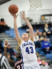 Cedar Crest's Alyssa Austin goes up for two against