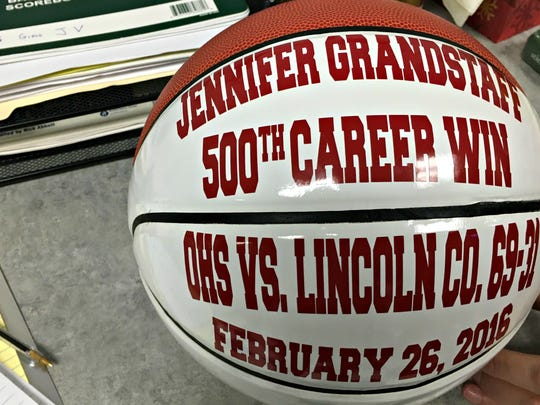 A ball commemorates Oakland coach Jennifer Grandstaff's 500th coaching victory.