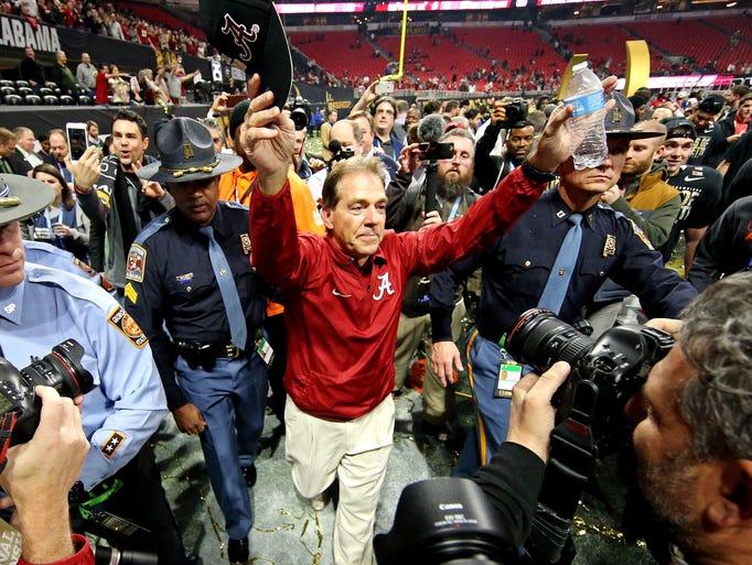 Alabama Crimson Tide head coach Nick Saban celebrates
