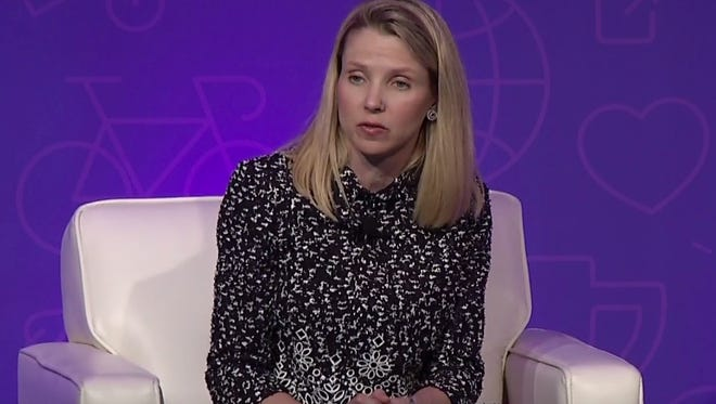 Yahoo CEO Marissa Mayer answers questions during the 2016 shareholder meeting in this screen grab of the livestreamed June 30 event.