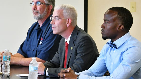 The Palm Bay City Council Seat 4 candidate forum held at FLORIDA TODAY Wednesday morning. Left to right, Thomas Gaume, Tres Holton, and Kenny Johnson.