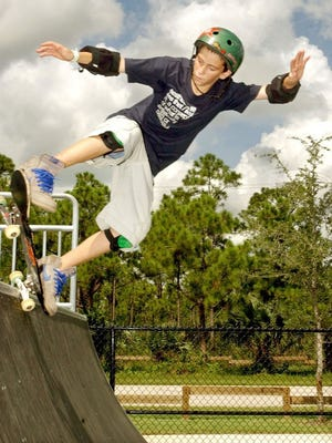 Skaters and bikers are attracted to the ramps at the skateboard park at Leighton Park.