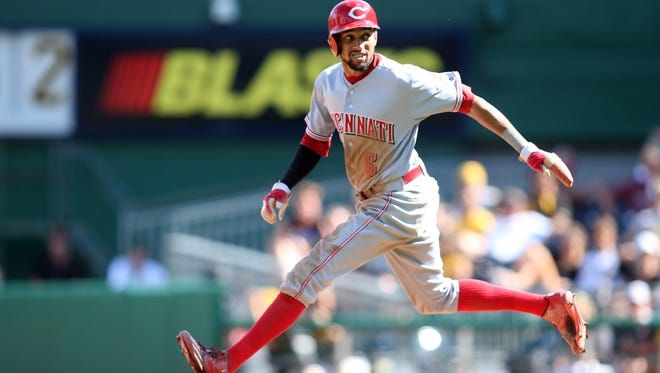 The Reds' Billy Hamilton stole four bases on Sunday and is now tied for the major league lead with 43.