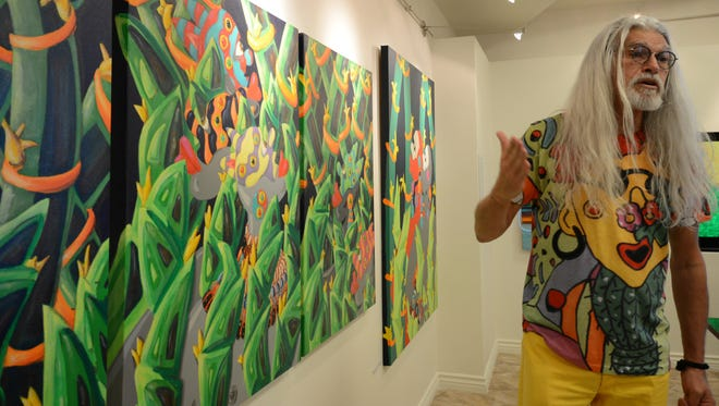 Artist Juan-Manuel Alonso discusses his work, now exhibited at the Tolerance Education Center in Rancho Mirage.