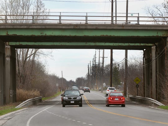 Deterioration on bridge carrying traffic on Route 390 over Trolley Boulevard in Gates.