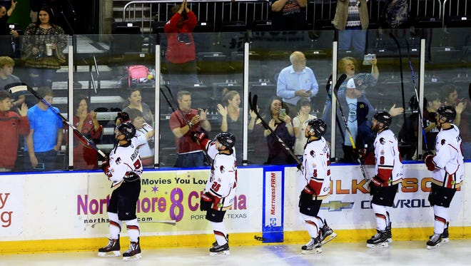 IceRays players celebrate with fans after defeating Shreveport on Wednesday, April 19, 2017, at the American Bank Center in Corpus Christi.