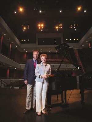 George and Sharon Mabry in the concert hall named in their honor at APSU. A new composition by George Mabry, Voices, will be performed on the stage Friday.