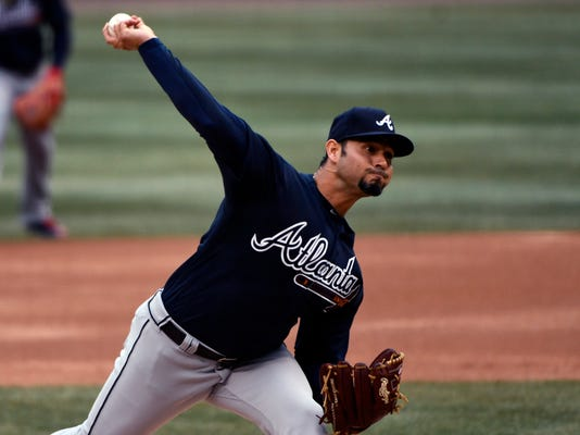Atlanta Braves starting pitcher Anibal Sanchez (19) delivers during the first inning of a baseball game against the Chicago Cubs on Friday, April 13, 2018, in Chicago. (AP Photo/Matt Marton)