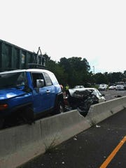 A crash slowed traffic on Route 37 in Toms River Thursday.