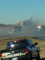 A semi carrying a load of paper products caught fire