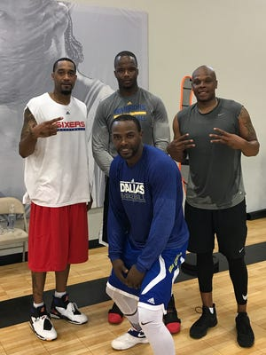 Bonzi Wells, right, with BIG3 teammates Lee Nailon, Jermaine O'Neal and Mike James.