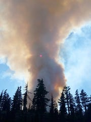The Whitewater Fire burning Aug. 6, 2017, in the Mount