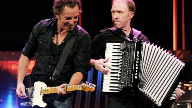 Bruce Springsteen (left) and Danny Federici at the Mellon Arena in Pittsburgh on Nov. 14, 2007. Federici, whose keyboard playing help define the E Street Band's sound, died on April 17, 2008.