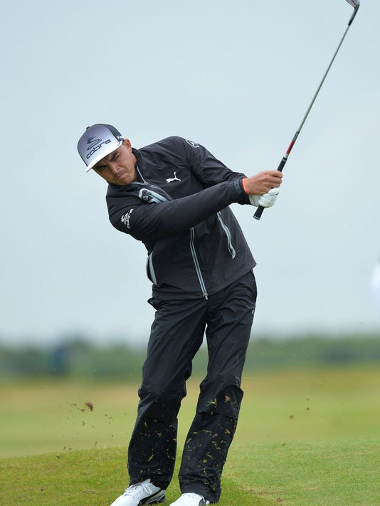 Ricky Fowler of the United States plays his second shot to the 5th hole during day three of the Scottish Open golf tournament at Dundonald Links, Troon, Scotland, Saturday, July 15, 2017. (Mark Runnacles/PA via AP)