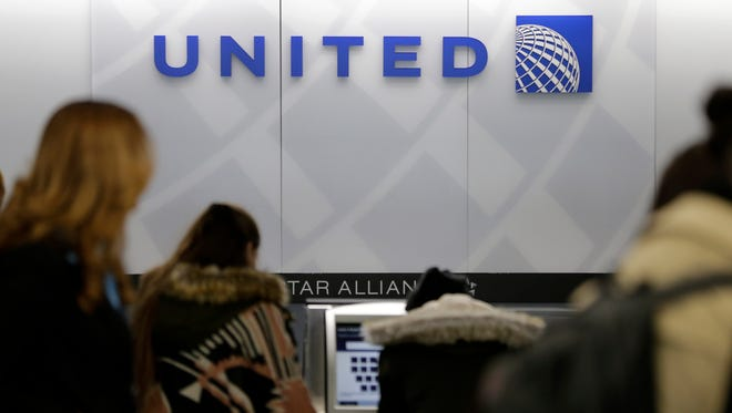 A United Airlines counter is seen at LaGuardia Airport in New York, on March 15, 2017.