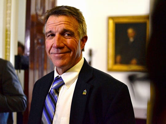 Gov. Phil Scott speaks to reporters late Thursday afternoon