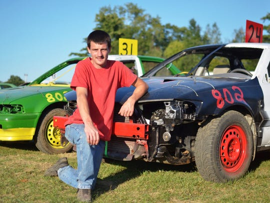 Mark Billings, Jr., of Swanton, said he spent about 10 days preparing his car for the Burnett Scrap Metal Double Figure 8 Race at the Champlain Valley Fair in Essex Junction on August 30, 2017.