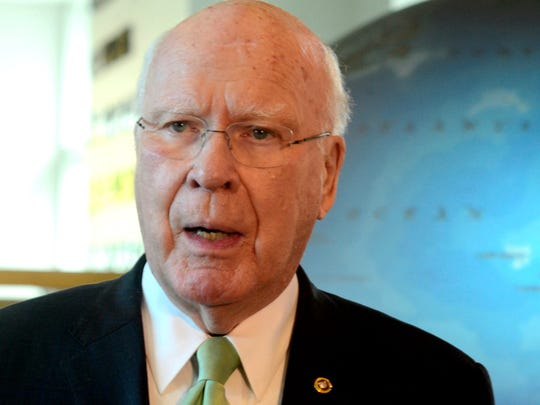 Sen. Patrick Leahy, D-Vt., speaks to reporters at Burlington International Airport on Sept. 29, 2017.