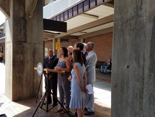 MTA Board member Veronica Vanterpool speaks at a press