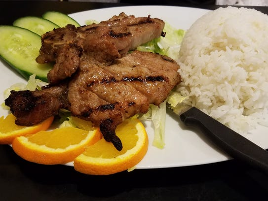 The pork and rice plate at Yellow Elephant restaurant in Perinton.