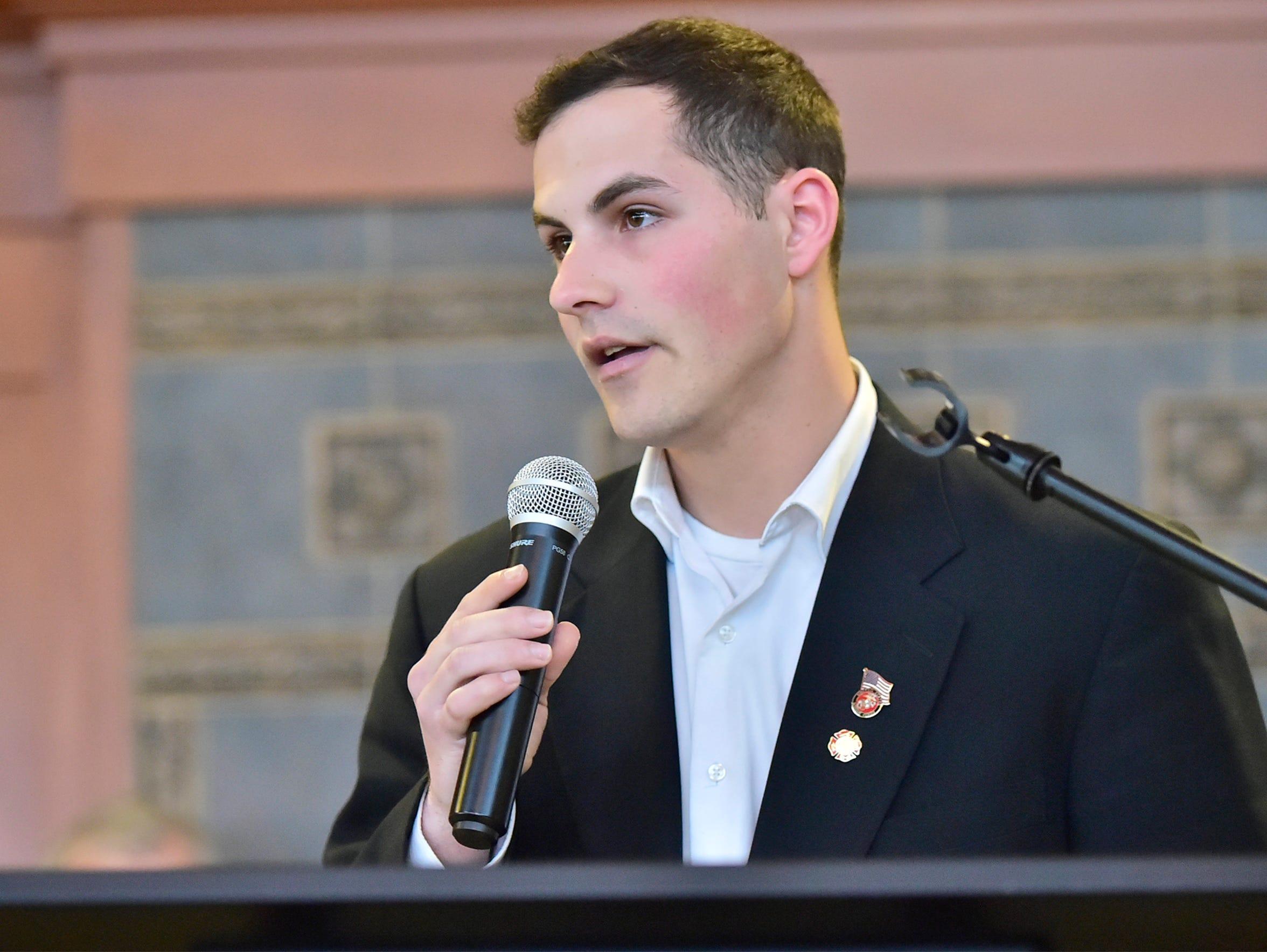 Ben Hornberger speaks during a Q & A for U.S. Congress