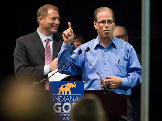 "Republican Nominee for U.S. Senate Mike Braun chants ""send Joe home"" with the crowd during the Indiana Republican State Convention at the Ford Center on Saturday, June 9, 2018. Braun is running against incumbent democrat Joe Donnelly."