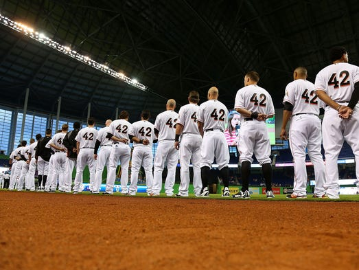 The Miami Marlins line up during a game against the Washington Nationals.