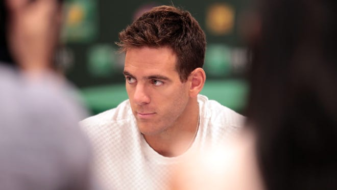 Juan Martin Del Potro attends the media roundtable on the first Wednesday of the BNP Paribas Open on March 7, 2018 in Indian Wells, CA.