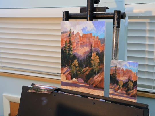 """Arlene Braithwaite uses """"plein air"""" studies, like the smaller piece on the right, to capture the colors of a particular scene before creating larger works in her home studio."""
