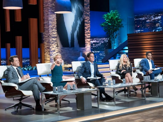 The Sharks, from left to right: Robert Herjavec, Barbara Corcoran, Mark Cuban, Lori Greiner and Rohan Oza.
