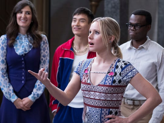 From left, D'Arcy Carden as Janet, Manny Jacinto as