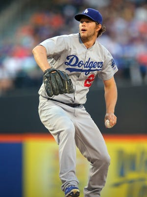 Los Angeles Dodgers starting pitcher Clayton Kershaw (22) pitches against the New York Mets during the second inning at Citi Field.