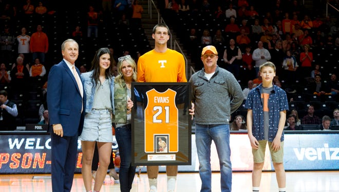 Tennessee's Lew Evans is honored on senior day before Saturday's game against Alabama at Thompson-Boling Arena.