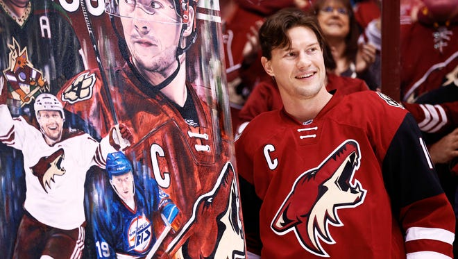 Arizona Coyotes captain Shane Doan was honored during pregame ceremony for becoming the franchise leader in goals before playing San Jose on Jan. 21, 2016 in Glendale, Ariz.
