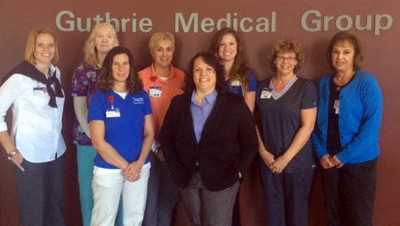 Guthrie Corning Hospital Cardiac Rehab Team, from left: Jennifer Yartym, senior director; Susan Doyle, RN; Paola Kaufman, exercise physiologist; Margaret Daniels, RN; Dr. Kristine Perle; Holly Frampton, exercise physiologist; Lisa Stoddard, RN; Susan Byers, RN.