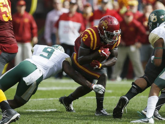 Iowa State running back Mike Warren pushes his way into the end zone to score against Baylor Saturday, Oct. 1, 2016 at at Jack Trice Stadium in Ames.