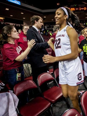 Jan 26, 2015; Columbia, SC, USA; South Carolina Gamecocks guard/forward A'ja Wilson (22) celebrates with the fans after the game against the Texas A&M Aggies at Colonial Life Arena. Mandatory Credit: Jeff Blake-USA TODAY Sports