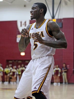 Iona's A.J. English (5), seen here earlier this month against Cleveland State,  had 26 points, nine assists and seven rebounds in Wednesday night's 126-76 win over Delaware State at the Hynes Center.