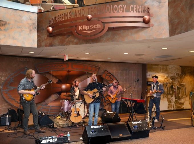 Indianapolis band Bleedingkeys performs at Klipsch Audio headquarters, 3502 Woodview Trace, Indianapolis, as part of the audio systems company's demo day event, which started for employees, then opened to the public beginning at 6 p.m. Tuesday, June 24, 2014. Klipsch is now sponsoring the band. Klipsch-sponsored celebrities Robert Mathis (Colts) and race driver Josef Newgarden were also on hand for the event.