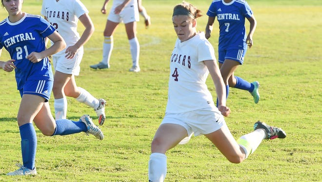 Stuarts Draft's Rachel Sauder moves the ball downfield during a 2A East girls soccer quarterfinals match played in Stuarts Draft on Tuesday, May 30, 2017.