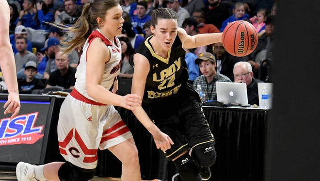 Buffalo Gap's Leah Calhoun tries to take the ball around Central-Wise's Brook Porter during the VHSL Class 2 girls state championship game played in Richmond on Friday, March 9, 2018.