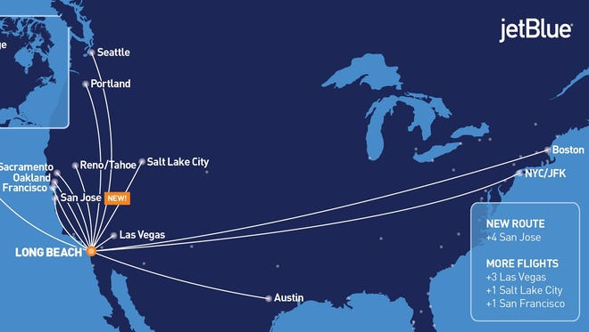 This route map published by JetBlue shows its nonstop schedule from California's Long Beach Airport.