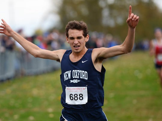 New Oxford's Aaron Gebhart raises his hands in victory as he wins the PIAA District 3 Class AAA boys' cross-country championships in Hershey last Wednesday in Hershey. (Kate Penn - Daily Record/Sunday News)