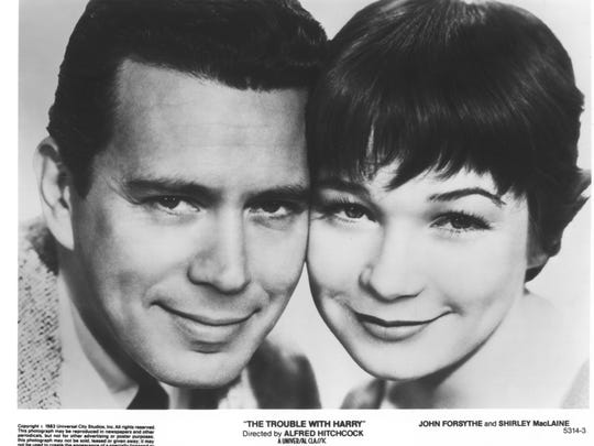 """John Forsythe and Shirley MacLaine in  """"The Trouble"""