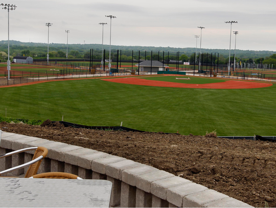 A view of the baseball diamond can be enjoyed from